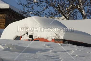 Blocked by snow car