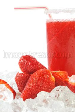 delicious strawberries and a glass of juice
